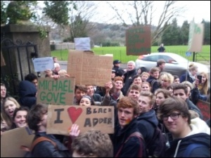 Students at Marling school, Stroud, show visiting Gove their anger, photo by C Moore